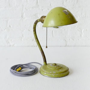 Vintage Green Gooseneck Industrial Lamp with Black and White Zigzag Color Cord
