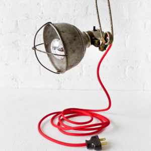 Vintage Industrial Clamp Work Light with Red Cord