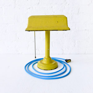 Vintage Yellow Industrial Desk Lamp with Baby Blue Color Cord