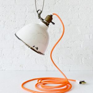 Antique Industrial White Porcelain Clip Lamp with Neon Orange Color Cord