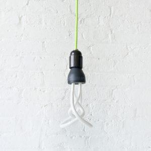 Neon Green Plumen Pendant with Designer CFL Light Bulb