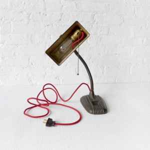 Vintage Industrial Brown Desk Lamp with Red Color Cord