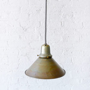 Vintage Brass Shade Pendant with Black & White Zig Zag Color Cord