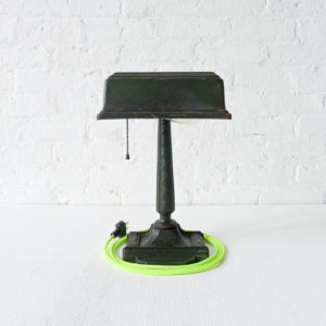 Cast Iron Green Crackle Art Deco Desk Lamp with Neon Yellow Green Color Cord
