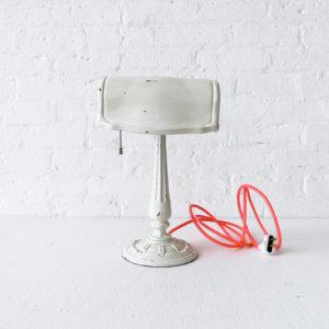 Vintage Art Deco White Desk Lamp with Neon Pink Orange Color Cord