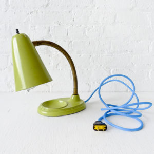 Vintage Industrial Mint Green Gooseneck Desk Lamp with Blue Color Cord