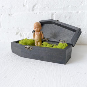 Vintage Doll Coffin – Creepy Cute Collectable Bisque Dead Doll