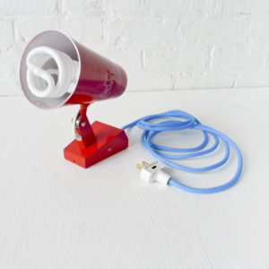Vintage Engine Red Luxo Wall Mount or Desk Lamp with Turquoise Color Cord
