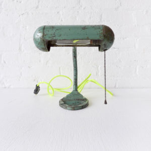 Vintage Green Machine Age Rust Desk Lamp with Neon Yellow Net Color Cord
