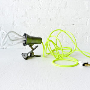 Vintage Industrial Clip Light with Neon Yellow Net Color Cord & Plumen CFL