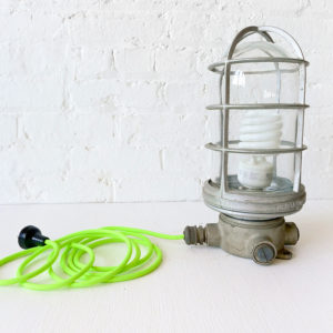 Vintage Industrial Vapor Proof Cage Lamp with Neon Green Color Cord