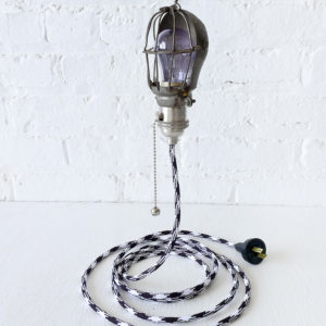 Vintage Industrial Work Light Cage with B&W Color Cord