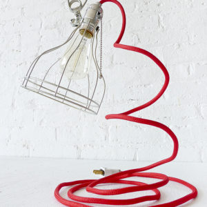 Vintage Machine Age Clip Cage Light with Red Color Cord