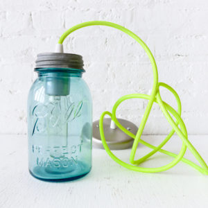 Vintage Mason Bell Jar Pendant with Neon Green Yellow Color Cord