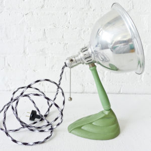 Vintage Mint Green Hand Held Lamp with Black & White Color Cord