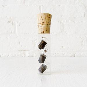 Mini Antique Light Bulbs in Glass Vial Cork