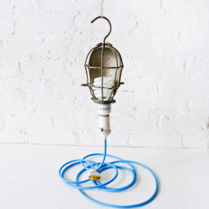 Vintage Industrial Cage Light – Trouble Work Lamp with Blue Color Cord
