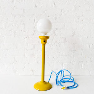 Antique London Light Post with Frosted Light Bulb with Baby Blue Color Cord