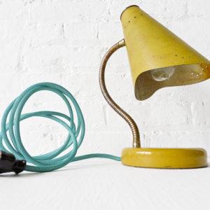 Retro Yellow Gooseneck Desk Lamp with Aqua Green Blue Cord