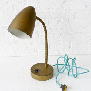 Vintage Mid Century Gooseneck Desk Lamp with Green Aqua Cord
