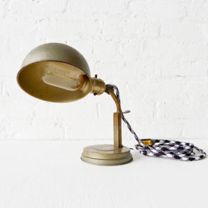 Vintage Bronze Lamp Sconce with B&W Cord