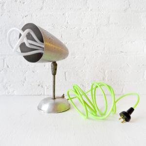 Vintage Industrial Aluminum Metal Bullet Head with Neon Green Color Cord