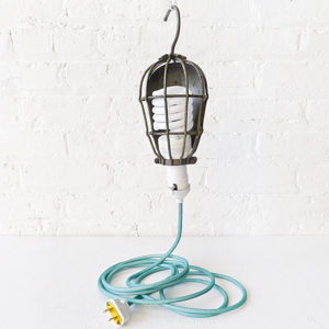 Vintage Industrial Cage Light – Trouble Work Lamp with Aqua Green Color Cord