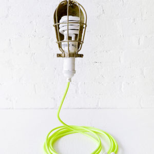 Vintage Industrial Cage Light – Trouble Work Lamp with Neon Yellow Color Cord