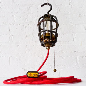 Vintage Industrial Cage Light – Trouble Work Lamp with Red Color Cord