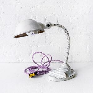 Vintage Industrial Desk Lamp – Distressed White Gooseneck with Purple Zig Zag Cord