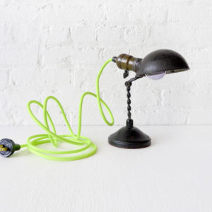 Vintage Industrial Lamp – Mini Machine Age Light with Neon Green Yellow Color Cord