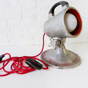 Vintage Industrial Stage Light with Red Color Cord
