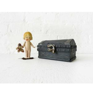Dead Dolly Doll in Wood Stained Coffin Box