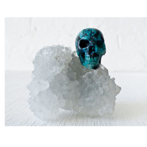 India Crystal Cluster with American Chrysocolla Skull