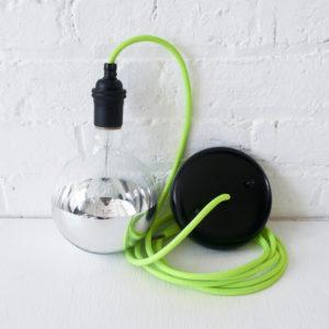 Pendant Globe Light Neon Yellow-Green Cord