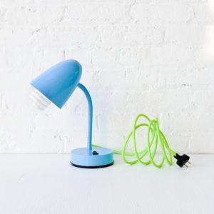 Retro Gooseneck Desk Lamp in Baby Blue with Neon Yellow Green Cord