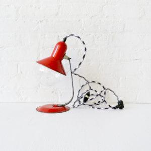 Retro Mod Red Desk Lamp Globe with Black and White Cord