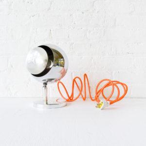 Retro Silver Eye Ball Lamp with Neon Orange Net Cord