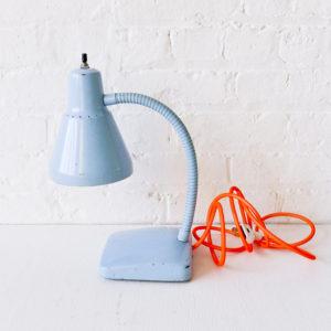 Vintage Gooseneck Desk Lamp in Baby Blue with Neon Orange Net Cord