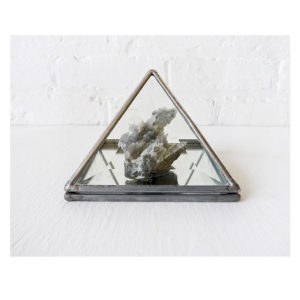 Frozen Water Wave Crystal Stone in Beveled Glass Pyramid