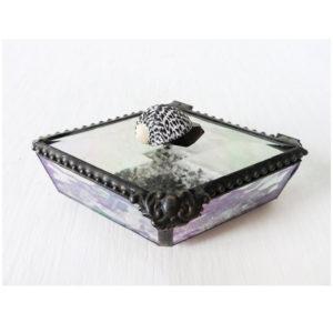 Spotted Seashell Diamond Shaped Beveled Glass Jewelry Box with Smokey Black Crystal Quartz