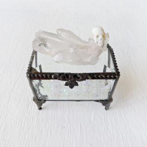 Beveled Glass Jewelry Box with Australian Opal Carved Skull on Crystal Quartz