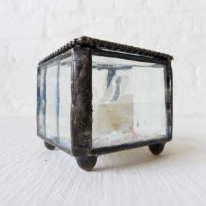 Beveled Glass Jewelry Box with Quartz Crystal Gem