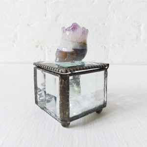 Beveled Glass Jewelry Box with a Crowned Agate Carved Skull