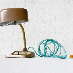 Industrial Desk Lamp – Mid Century Hood with Aqua Green Blue Color Cord