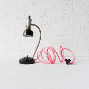 Industrial Atomic Chrome Black Desk Light with Neon Pink Net Cord