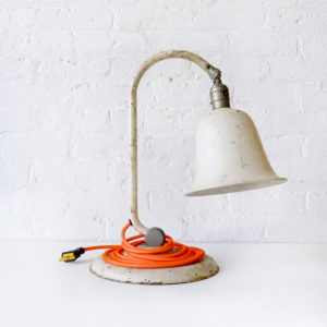 Industrial Vintage Lamp – Rust Bell Light with Neon Orange Color Cord