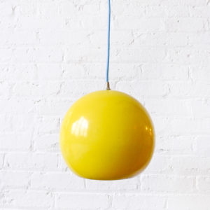 Retro Mod Light – Vintage Yellow Bowl Pendant with Baby Blue Color Cord
