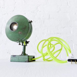 Vintage Green Industrial Lamp with Neon Yellow Net Color Cord