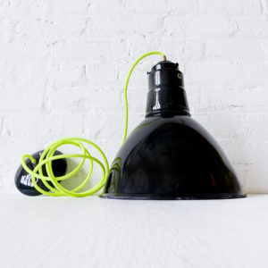 Vintage Industrial Factory Light Gas Station Pendant with Neon Yellow Net Color Cord